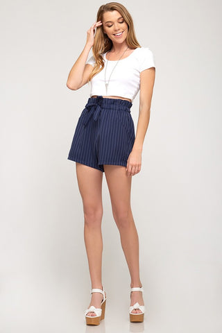 Kate Paper Bag Stripe Shorts - ReservedChic