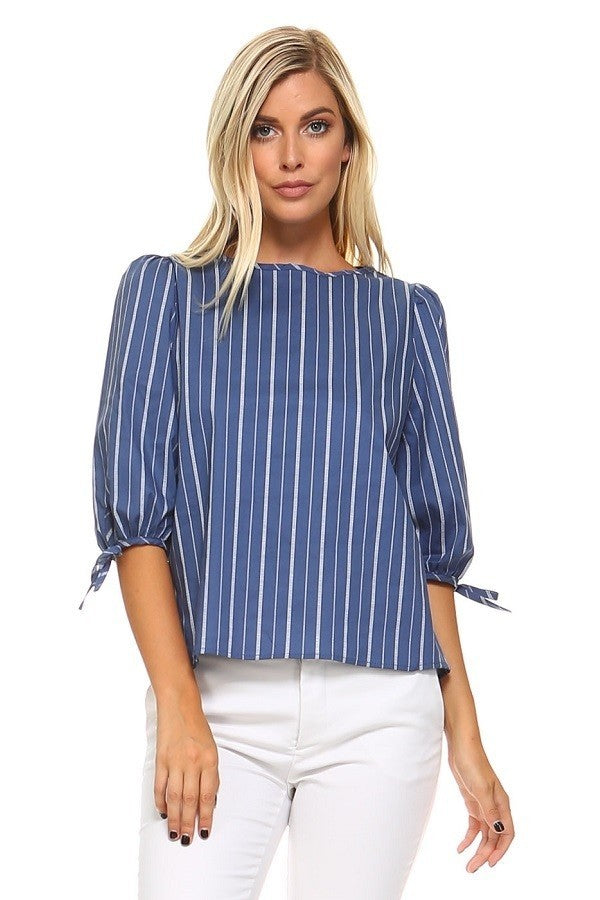 Blue & White Stripe Boatneck Top - ReservedChic