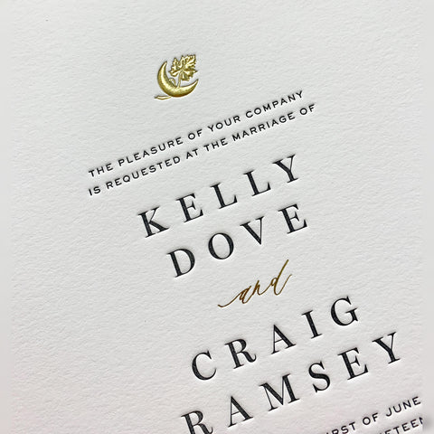 Gold embossing on wedding invitation for Kelly Dove and Craig Ramsey