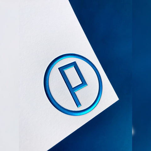 Blue embossing P in circle logo for business card