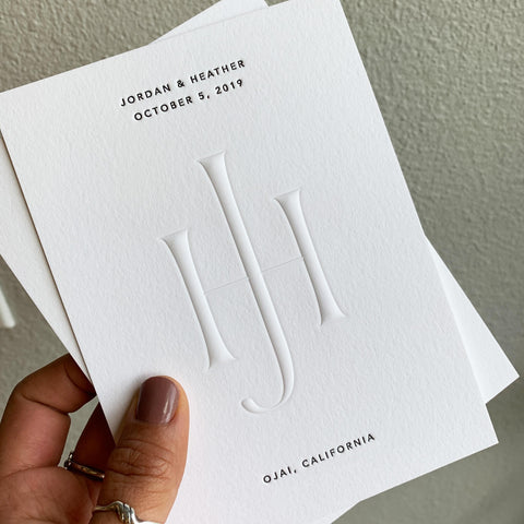 Blind embossing Jordan and Heather initial white wedding invitation card