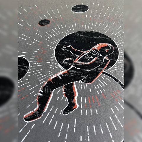 Spaceman grey Poster three color Screen Print