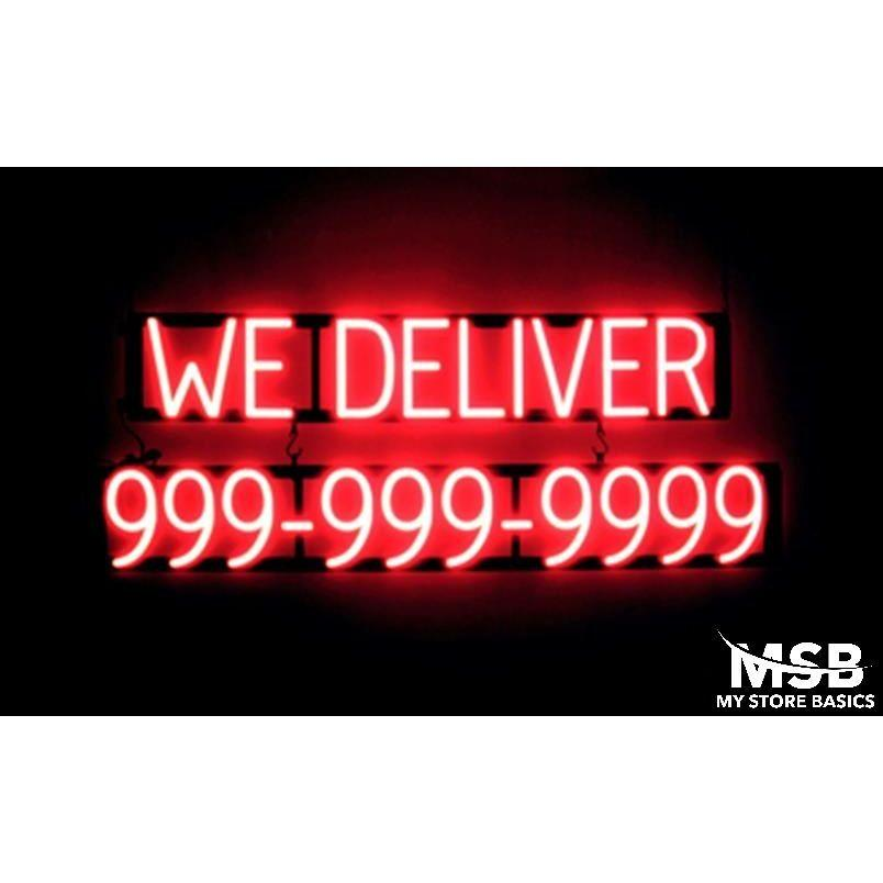 1ca27383a660 We Deliver 10 Digit Phone Number 41.5x15in Flashing LED Neon Flex Window  Signs 68730168