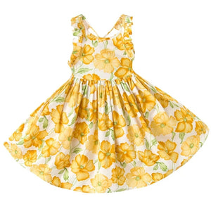 Backless Vintage Girl's Floral Dress in Yellow - © 2019, Life Is'Bella / NEYSOUTH LLC.
