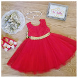 Red Dress Lace Girl Gown Gold Sequins Bow - © 2019, Life Is'Bella / NEYSOUTH LLC.