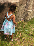 Backless Vintage Girl's Floral Dress in Blue - © 2019, Life Is'Bella / NEYSOUTH LLC.