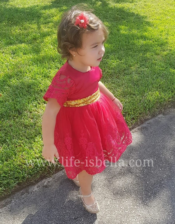 Toddler kids fancy red dress - © 2019, Life Is'Bella / NEYSOUTH LLC.