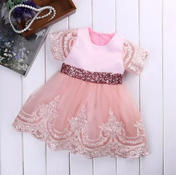Toddler kids fancy pink dress