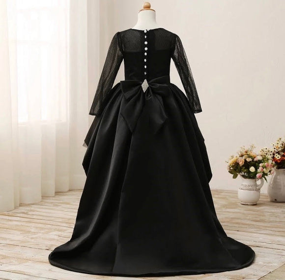 Black Flower Girl Dresses High Low Satin Tulle Ball Gown Kids Party Gown - © 2019, Life Is'Bella / NEYSOUTH LLC.