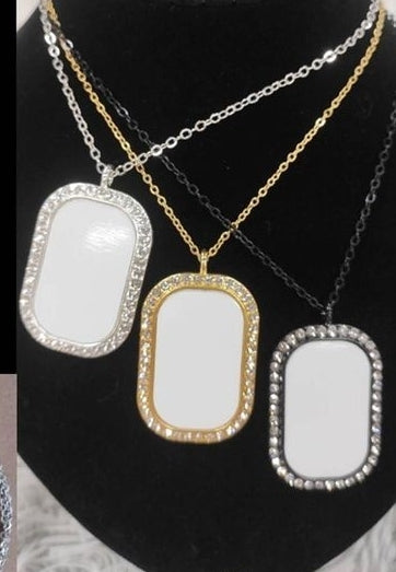 Dog Tag Necklace(Custom Made)- Silver, Black, Gold plated with Rhinestones (photo size 1 & 1/8 Inch x 1/8 Inch)