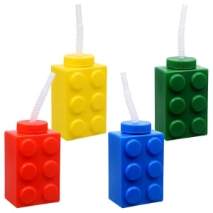 Personalized Lego Colored Brick Drinking Cups with Straws 16 oz.