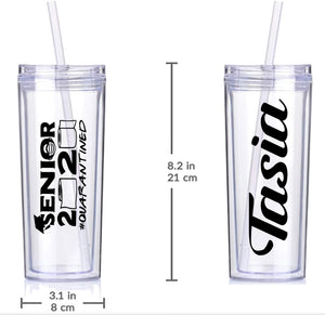 16oz Skinny Tumbler with Straw