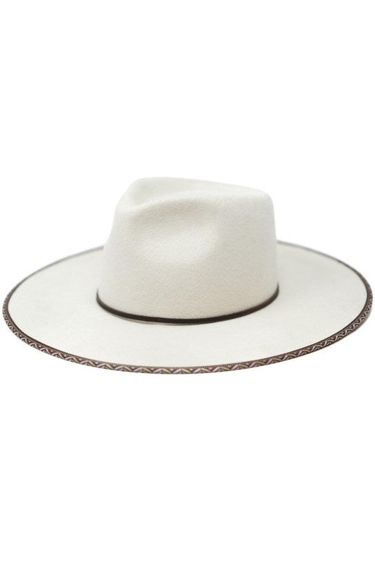 Zara Piped Rancher Hat in Ivory