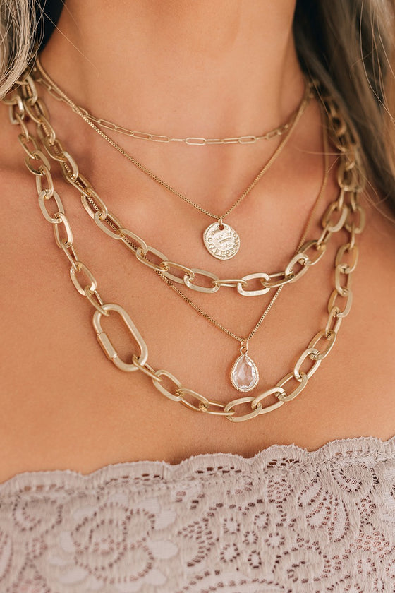 Kyla Layered Chain Charm Necklace in Gold