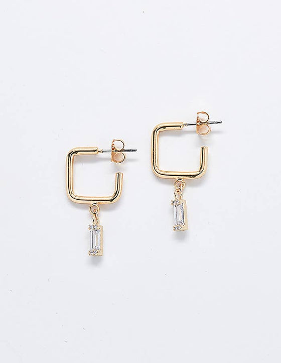 Frances Square Diamond Earrings in Gold