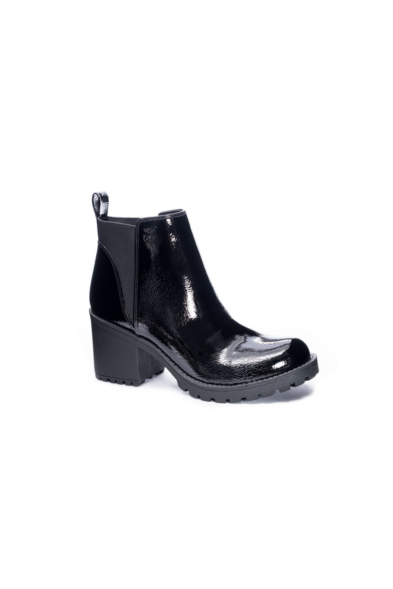 Valerie Chunky Booties in Patent Black