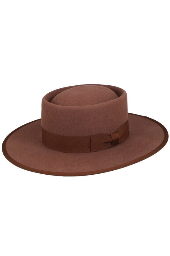 Ellianna Felt Gambler Hat in Cognac