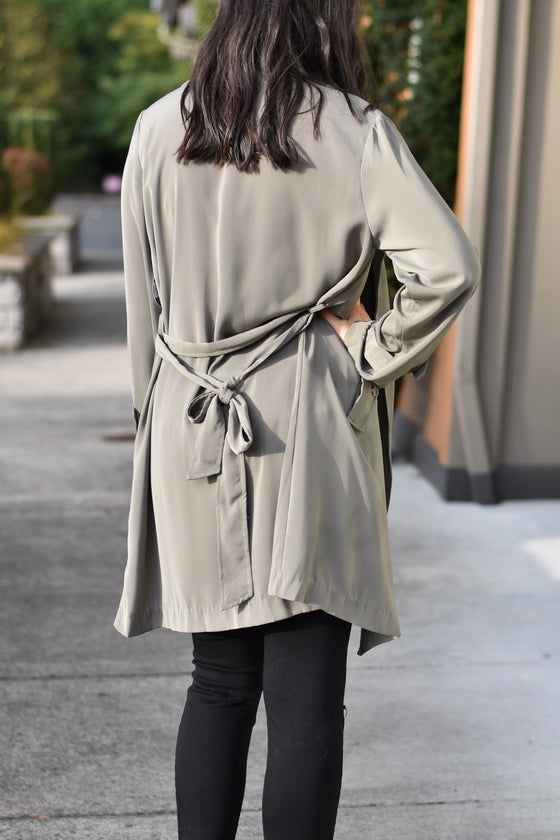 Ada Soft Trench Coat in Sage