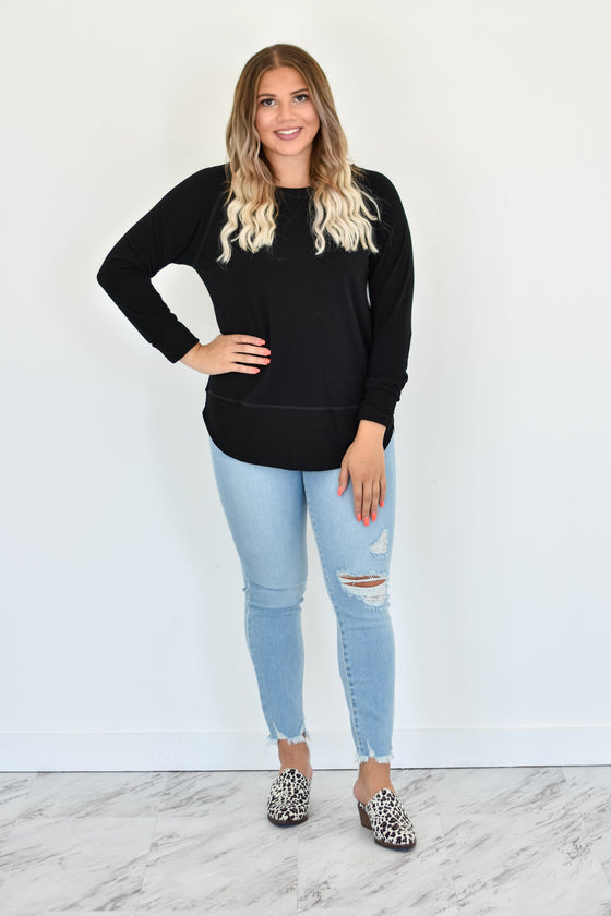 Alicia Soft Crew Neck Top in Black