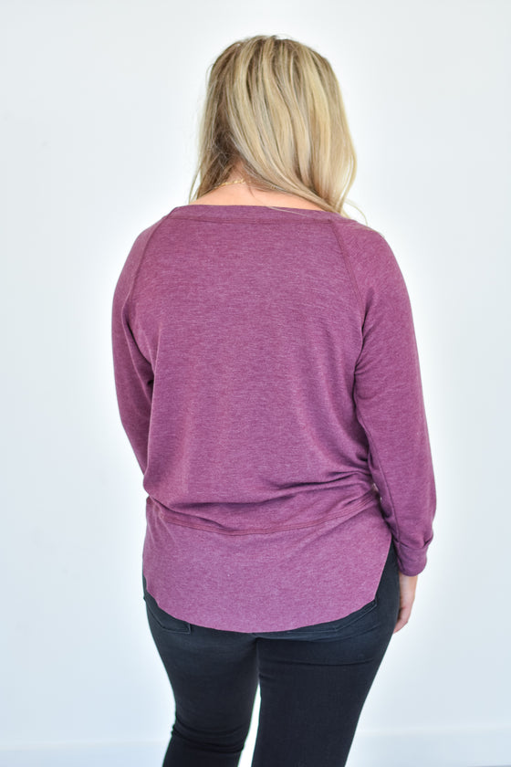 Alicia Soft Crew Neck Top in Burgundy