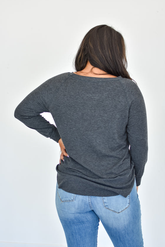Alicia Soft Crew Neck Top in Charcoal