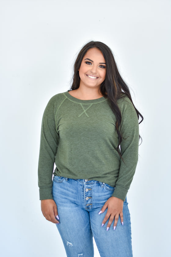 Alicia Soft Crew Neck Top in Olive
