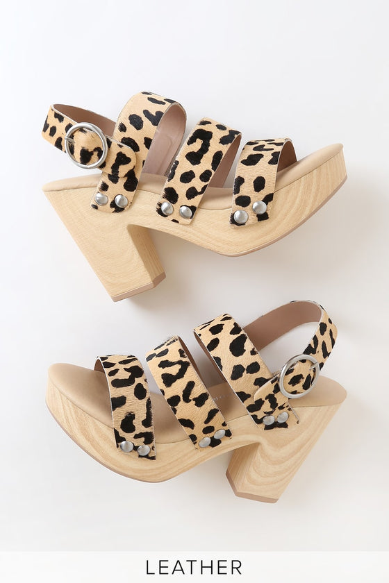 Angela Cheetah Wood Heel Shoes