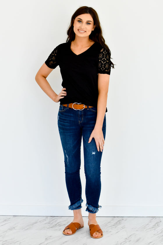 Anika Black Lace Sleeve Tee