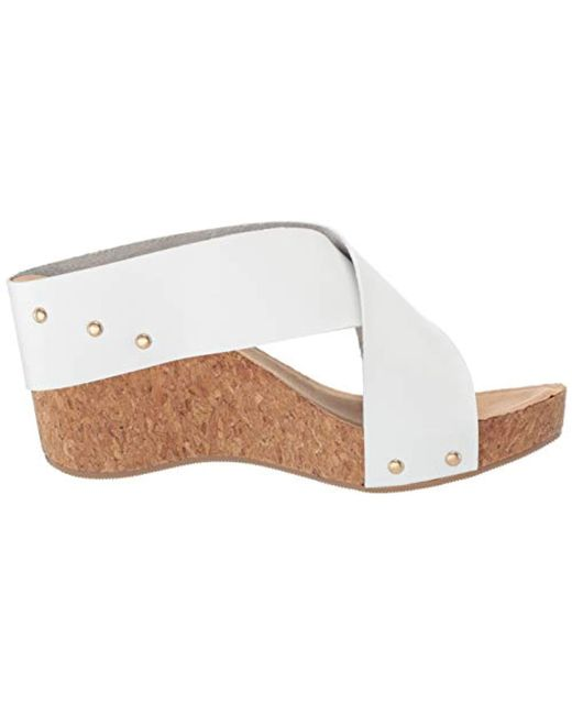 Annabelle Cross Strap Wedge Sandal in White