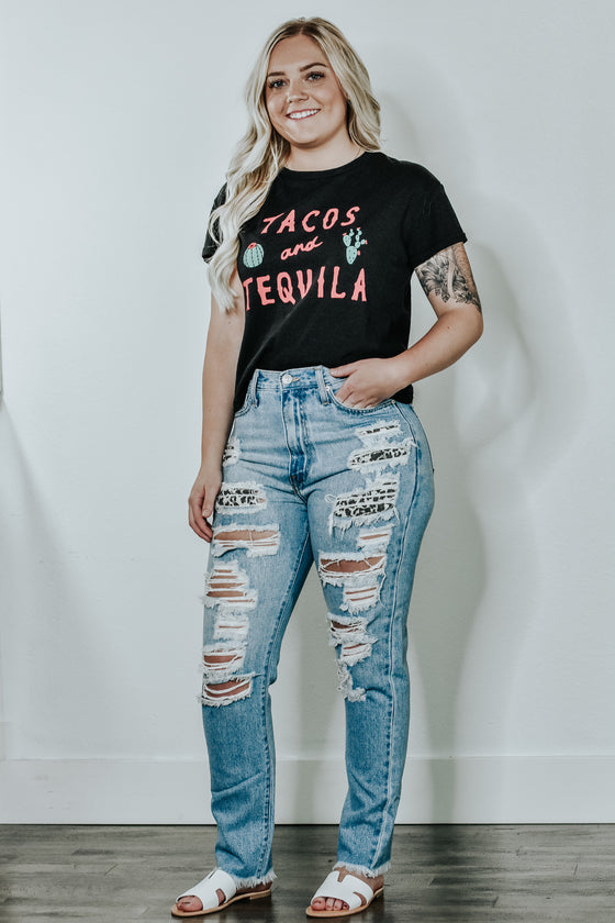 Arya Leopard Destroyed Jeans