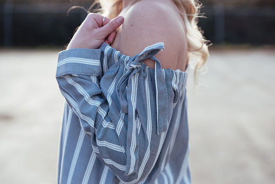 Ava Long Sleeve Off Shoulder Stripe Top