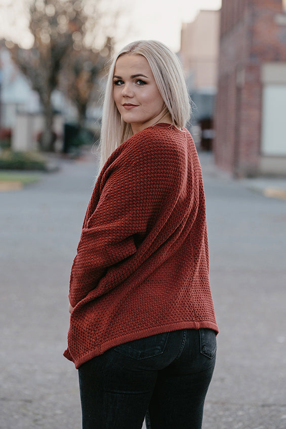 Becca Dolman Cardigan in Barn Red