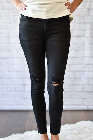 Sadie Distressed Black Skinny Jeans
