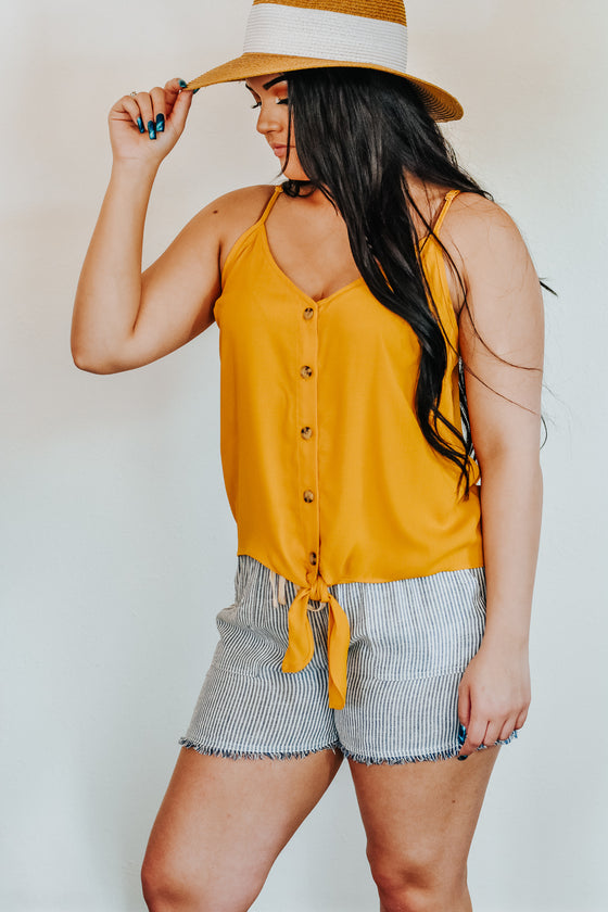 Brooke Mustard Button Down Tie Front Tank