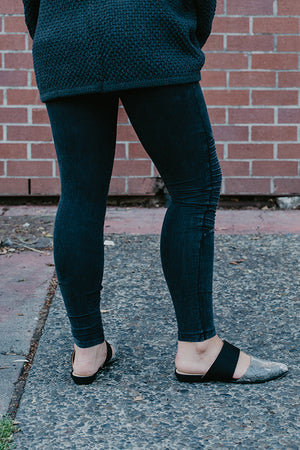 Brynn Washed Black Moto Leggings