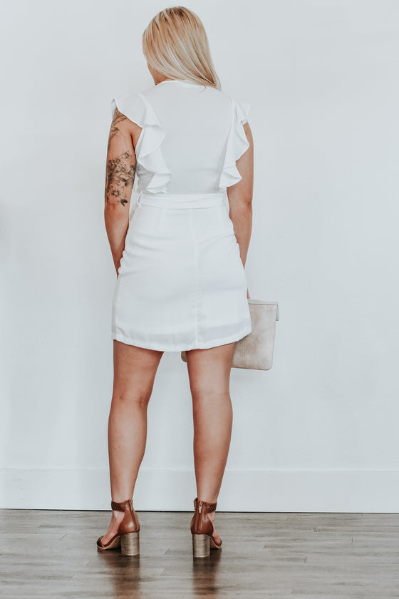 Callie White Flutter Sleeve Dress