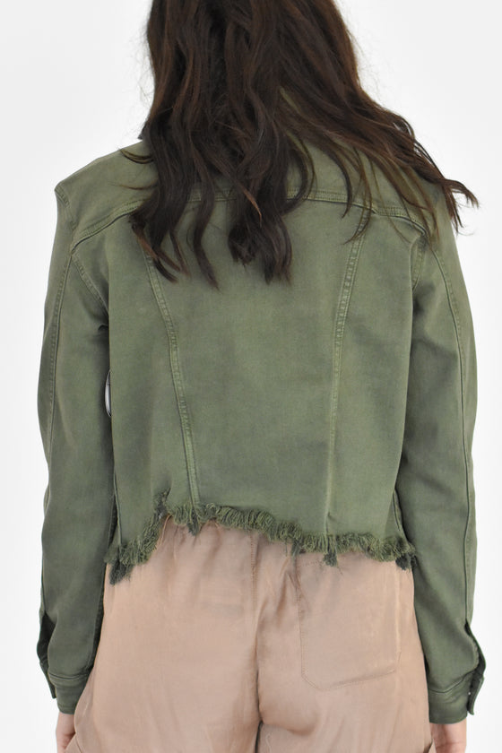 Cameron Olive Fray Jacket