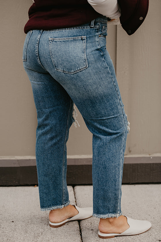 Candice Blown Out Knee Boyfriend Jeans