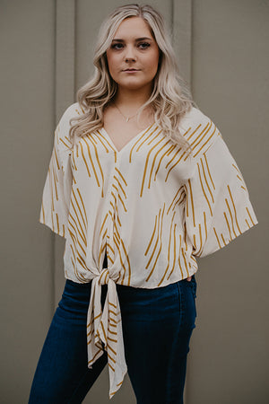 Casey Cream and Mustard Tie Front Blouse