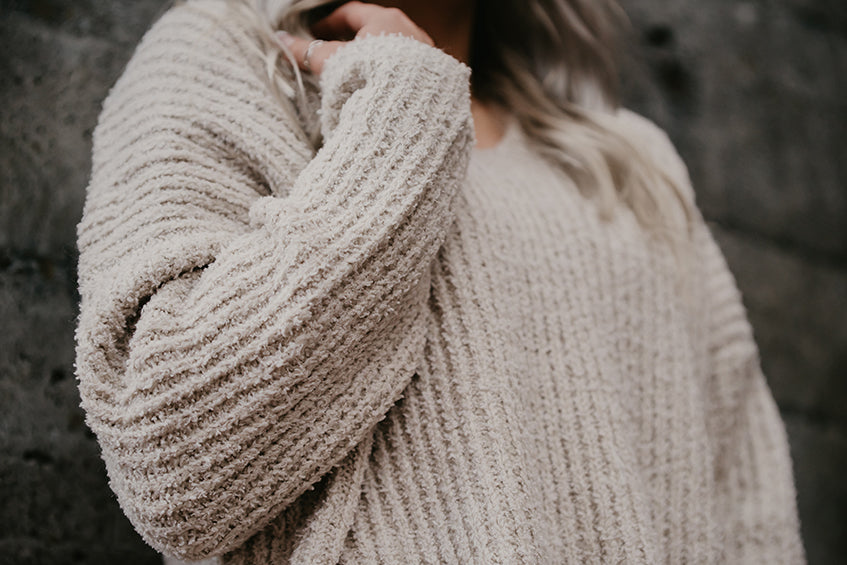Cassidy V Neck Oatmeal Sweater