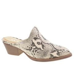 Mollie Mule Heels in Cream Snake