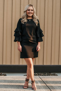 Celestia Black Ruffle Sleeve Dress