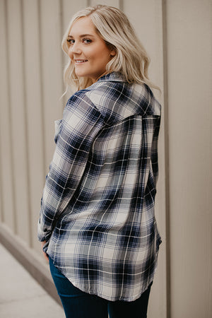 Chelsea Gray Navy Mix Plaid Button Up Top