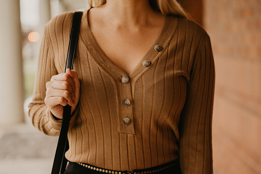 Christin Button Long Sleeve Top in Camel