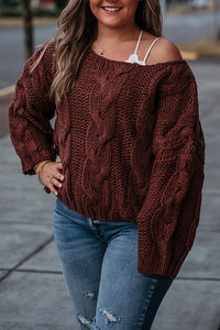 Samantha Cable Knit Drop Shoulder Sweater in Russet