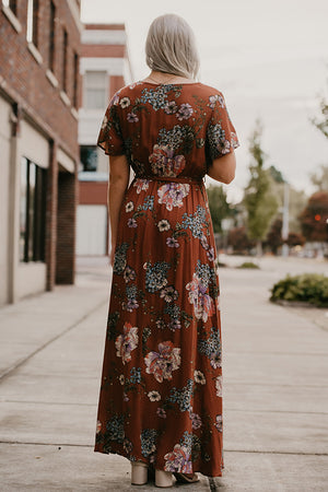 Claudia Rust Floral Wrap Maxi Dress