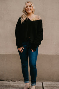 Colleen Black Destructed Hem Sweater