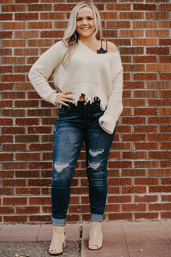 Colleen Natural Destructed Hem Sweater