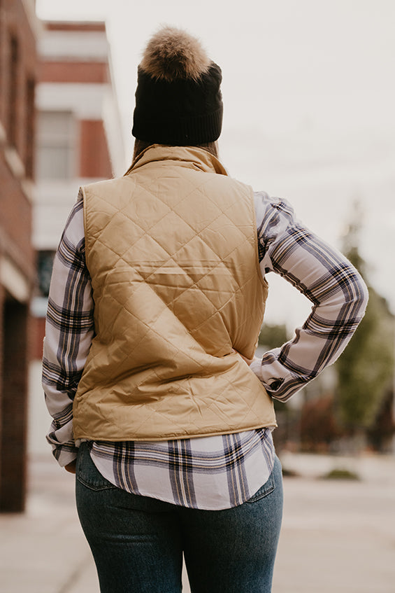 Courtney Mustard Quilted Sherpa Reversible Vest