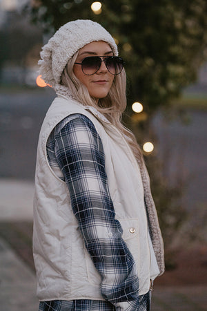 Courtney White Quilted Sherpa Reversible Vest